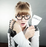 Businesswoman woman ending breaking contract. Royalty Free Stock Image