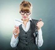 Businesswoman woman ending breaking contract. Royalty Free Stock Photos