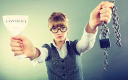 Businesswoman woman ending breaking contract. Royalty Free Stock Photography
