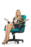 Businesswoman woman tied up Stock Image