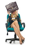 Businesswoman woman tied up Stock Images