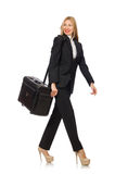 The businesswoman woman travelling with suitcase Royalty Free Stock Images