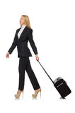 The businesswoman woman travelling with suitcase Stock Photos