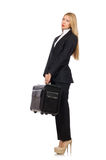 The businesswoman woman travelling with suitcase Royalty Free Stock Photos