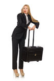 The businesswoman woman travelling with suitcase Stock Photography