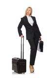 The businesswoman woman travelling with suitcase Royalty Free Stock Photo
