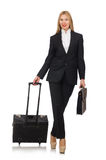 The businesswoman woman travelling with suitcase Royalty Free Stock Image