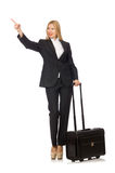The businesswoman woman travelling with suitcase. Businesswoman woman travelling with suitcase Royalty Free Stock Images