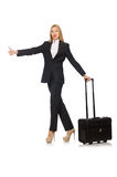 The businesswoman woman travelling with suitcase Stock Photo