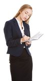 Businesswoman wondering about project Stock Image