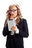 Businesswoman  wondering with tablet pc Royalty Free Stock Photos