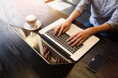 Businesswoman work on notebook Royalty Free Stock Photo