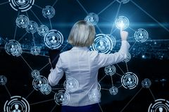 Businesswoman working in business network . Businesswoman working in business network on the virtual screen royalty free illustration