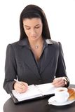 Businesswoman working in cafe Royalty Free Stock Images