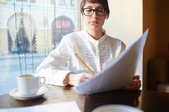 Businesswoman Working in Cafe Royalty Free Stock Photography