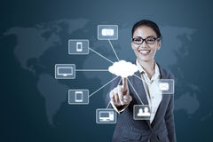 Businesswoman working with Cloud Computing diagram Stock Photography