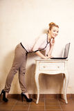 Businesswoman working on computer laptop Royalty Free Stock Photo