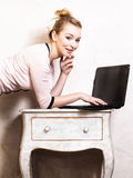 Businesswoman working on computer laptop Stock Photo