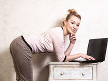Businesswoman working on computer laptop Royalty Free Stock Photography