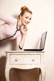 Businesswoman working on computer laptop Royalty Free Stock Image