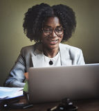 Businesswoman Working Computer Technology Concept Royalty Free Stock Photo