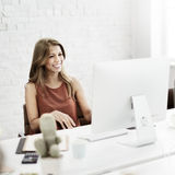 Businesswoman Working Connection Internet Concept.  Stock Image