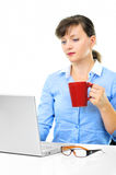 Businesswoman is working with a cup of coffee Stock Photo