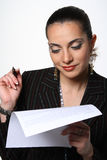 Businesswoman working with document Royalty Free Stock Photo