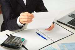 Businesswoman working with documents Stock Images