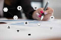 Businesswoman working with financial chart. startup freelance wo. Young businesswoman working with financial chart . startup freelance woman analyzing market Royalty Free Stock Photo