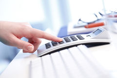 Businesswoman working on financial plan royalty free stock photography