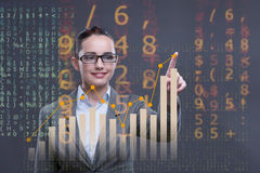 The businesswoman working with graph in business concept Royalty Free Stock Photography