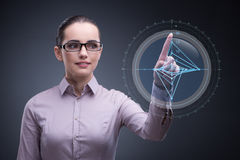 The businesswoman working with graph in business concept Royalty Free Stock Photo