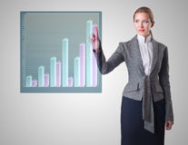 The businesswoman working with graph in business concept Stock Photography