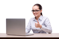 The businesswoman working at her desk on white background Royalty Free Stock Photo