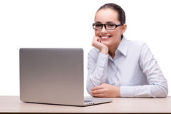 The businesswoman working at her desk on white background Royalty Free Stock Photography