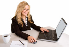 Businesswoman Working at her Laptop Royalty Free Stock Images