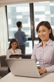 Businesswoman working on her laptop, coworkers on the background Royalty Free Stock Photo