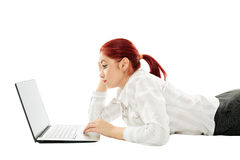 Businesswoman working at home Stock Images