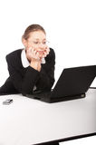 Businesswoman working on laptop Royalty Free Stock Images