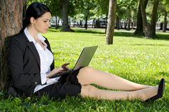 Businesswoman working laptop Royalty Free Stock Image