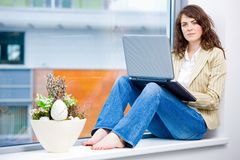 Businesswoman working on laptop Royalty Free Stock Photo