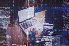 Businesswoman working on laptop 3D. Businesswoman working on laptop in office 3D Royalty Free Stock Photos