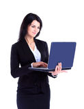Businesswoman working at a laptop stock photo
