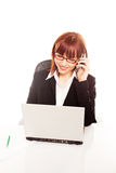 Businesswoman Working At Laptop On Mobile Royalty Free Stock Images
