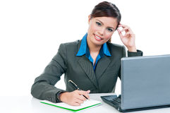 Businesswoman Working With Laptop Royalty Free Stock Image