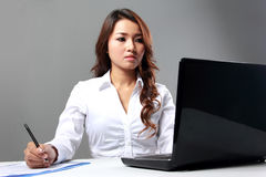 Businesswoman working with laptop Royalty Free Stock Photo