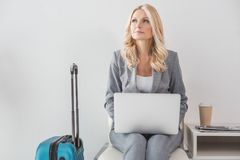 Businesswoman working with laptop Stock Photography