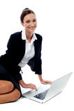 Businesswoman working on laptop Royalty Free Stock Image