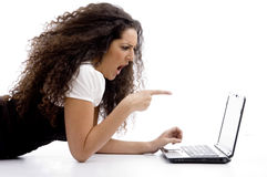 Businesswoman working on notebook Royalty Free Stock Images